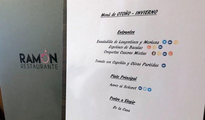 menú otoño invierno 2019 de restaurante Ramón